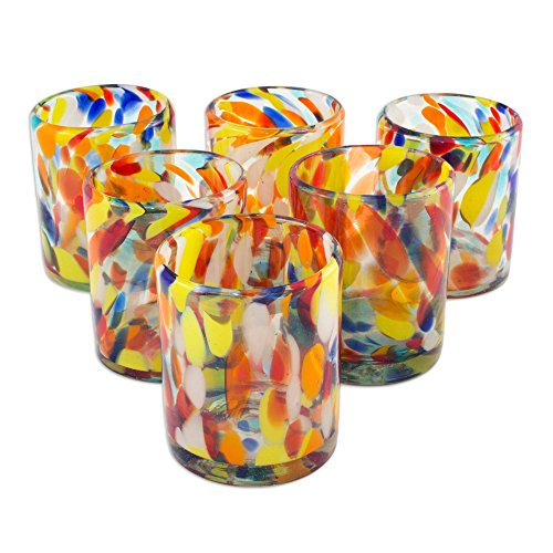 NOVICA Hand Blown Recycled Glass Multicolor Tumbler Glasses, 12 oz. 'Liquid Confetti' (set of 6) (Blown Set Glass)