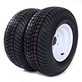 2 Pcs 20.5x8.0-10 LRC Bias Trailer Tires 6PR P825 5 lugs on 4.5'' Center Spare Rubber Tire Wheel Replacement