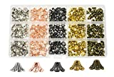 Mandala Crafts End Bead Cap, End Cap Bead Cover Assorted Set from Metal for Jewelry Making; Rose Gold, Gunmetal, Silver, Gold Color (Flower Cone Bell, 9mm)