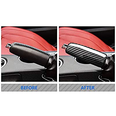 AIRSPEED Carbon Fiber Car Replace Handbrake Grips Cover for Ford Mustang Accessories: Automotive