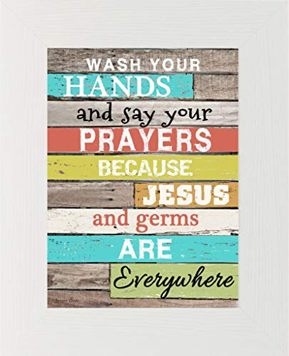 Summer Snow Wash Your Hands and Say Your Prayers Jesus Germs Framed Art Decor Picture