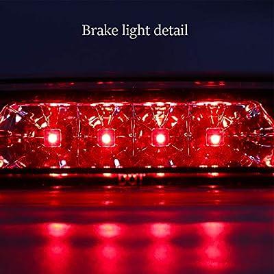 Sanzitop Hight Mount Stop Light LED 3rd Brake Light Automotive Tail Lights Brake Lamp for Jeep Cherokee 1997 1998 1999 2000 2001 55155614AE (Chrome Housing Clear Lens): Automotive