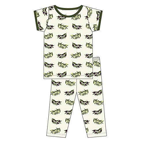Price comparison product image Kickee Pants Little Boys Print Short Sleeve Pajama Set - Natural Olive Branch,  3T