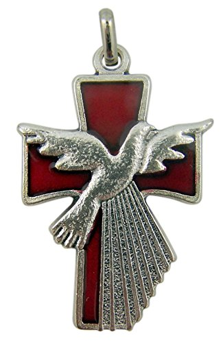 Silver Tone Red Enameled Holy Spirit Dove Confirmation Pendant, 1 1/2 Inch Holy Spirit Medal