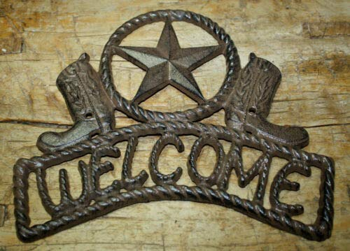 (JumpingLight Cast Iron Star Welcome Cowboy Boots Plaque Sign Rustic Ranch Wall Decor Texas Cast Iron Decor for Vintage Industrial Home Accessory Decorative Gift)
