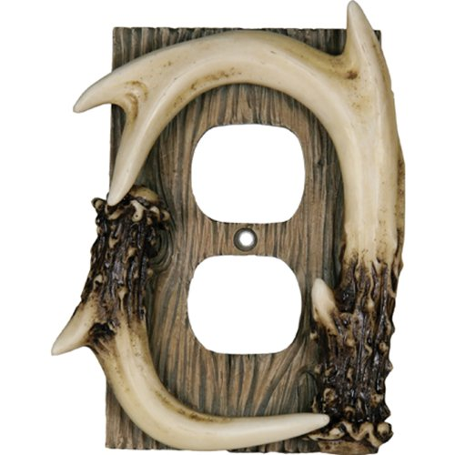 Rivers Edge Products Deer Antler Duplex Receptacle Electrical Cover Plate CVR (Antler Outlet Cover)