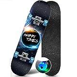 Flash Wheel Skateboard High Smooth High Endurance Skateboard High Speed Silent Skateboard (Color : Explore)