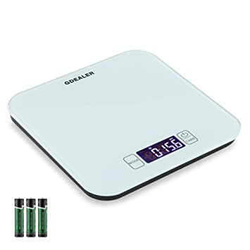 GDEALER Kitchen Scale 22lb/10kg Digital Kitchen Food Scale, Tempered Glass  Surface Touch Screen