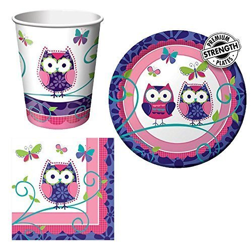 Creative Converting Owl Pal Tableware Package Including Cups, Beverage Napkins, and Dessert Plates for 16 Guests -