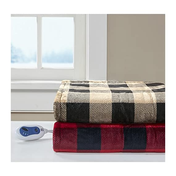 """True North by Sleep Philosophy Buffalo Plaid Electric Blanket Throw Ultra Soft Plush Auto Shut Off with 3 Heat Level Setting Controller, Oversized-5 Years Warranty, 60x70, Red - NEW TECHNOLOGY -- Our heated blanket utilizes state of the art Secure Comfort heated technology that adjusts the temperature of your throw based on overall temperature, spot temperatures and the ambient temperature of your room, ensuring a consistent flow of warmth. This unique technology also emits virtually no electromagnetic field emissions, so you can snuggle up with confidence FEATURES - Stylish comfort; heated blanket wrap comes with ultra-thin wires. The controller features 3 heat settings and 2-hour auto shut off. FABRIC - Super soft microlight fabric solid with premium pilling free fabrication. Oversized 60"""" x 70"""", larger than standard 50"""" x 60"""" throw. - blankets-throws, bedroom-sheets-comforters, bedroom - 51GmE312BHL. SS570  -"""