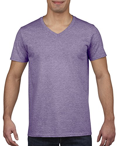 Gildan Mens Soft Style V-Neck Short Sleeve T-Shirt (S) (Heather Purple)