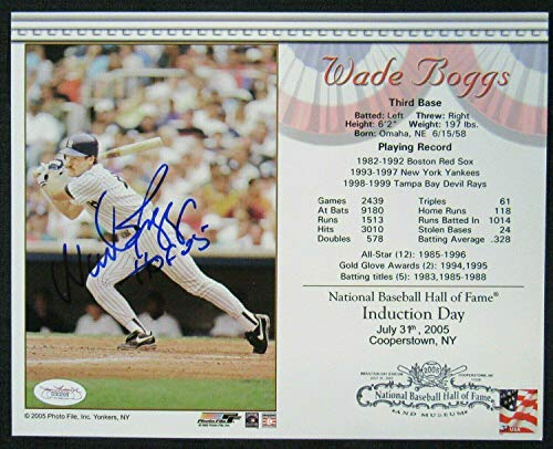 Autographed Wade Photograph - Wade Boggs Autographed Photograph - 8x10 II - Autographed MLB Photos
