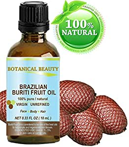 "Brazilian BURITI FRUIT OIL 100% Pure / Natural / Cold Pressed Carrier Oil / Undiluted. For Face, Body, Hair, Lip and Nail Care. ""One the richest natural sources of vitamin A, E and C."" From the Amazon Rainforest. (0.33 fl.oz-10ml.)"