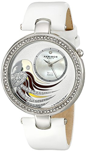 Akribos XXIV Women's AK602WT Lady Diamond Parrot Dial Swiss Quartz Leather Strap Watch