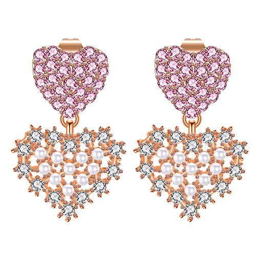 LILIE&WHITE Rose Gold Double Heart Stud Earrings Jacket for Women Cuff Earrings Heart Dangle Earrings with Crystal