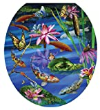 Toilet Tattoos TT-7740-R Koi Fish Decorative Applique for Toilet Lid, Round