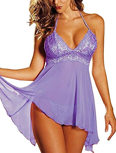 perfect figure Women Sexy Sleepwear Lace Strap Ba Bydoll Ligerie Set Plus Size Purple(US 12,Tag (Sailor Outfit Ebay)
