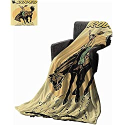 "Mannwarehouse 1950s Decor Blanket Sheets for Fathers Day Old Style Art of Rodeo Cowboy Riding Horse American Wild West Artistic Work All Season Light Weight Living Room 54"" Wx72 L Yellow Brown Orange"