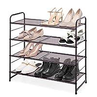 Simple Trending Stackable Shoe Rack, Expandable & Adjustable Shoe Shelf Storage Organizer, Metal Mesh, Silver