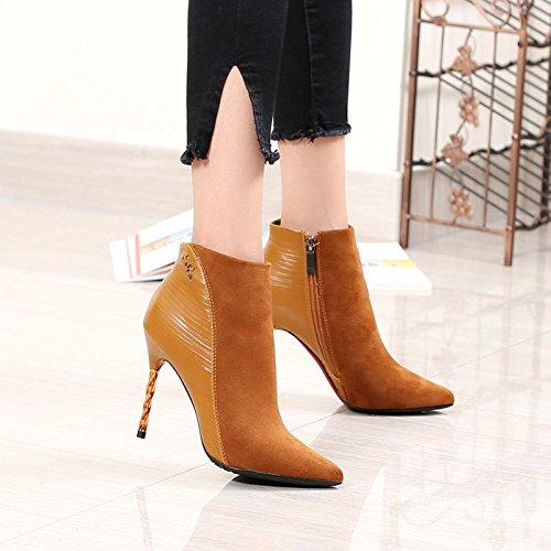khskx-chao botas de punta fina con botas desnudas botas de tobillo y personalidad all-match con oro y Sexy botas, Thirty-eight Thirty-six