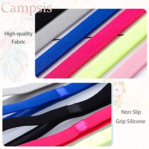 CAMPSIS YOGA SPORTS HEADBAND ELASTIC GRIP SILICONE HAIR BANDS NON SLIP EXERCISE HEADWEAR HAIR ACCESSORIES FOR MEN WOMEN AND GIRLS (PACK OF 6)