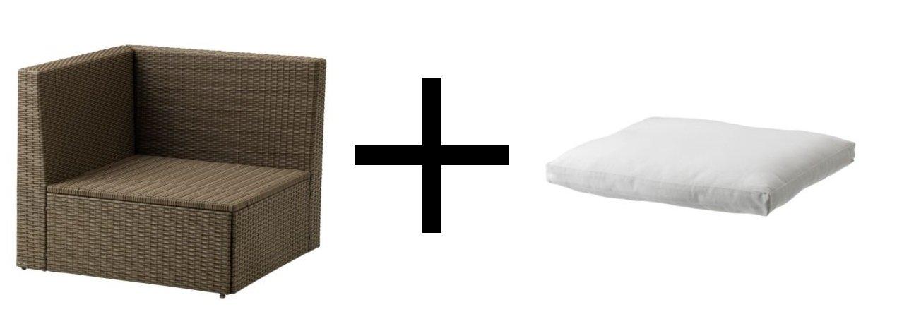 IKEA esquina sección, al aire libre, marrón y cojín para la ...