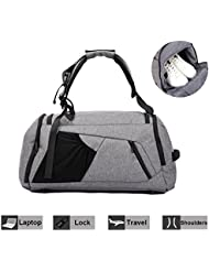 Travel Luggage Duffel Bag NeSus Lightweight Gym Bag Anti-theft Backpack (Grey)