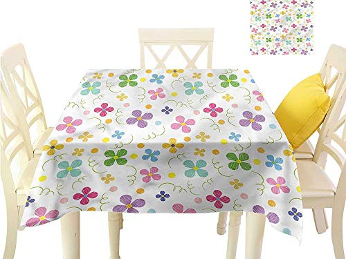 WilliamsDecor Outdoor Picnics Kids,Spring Daisies Dots Sketch Picnic Cloth W 60