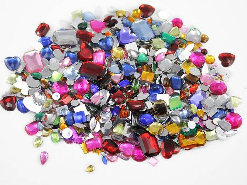 1 lbs of Bulk Crafting Gems. Assorted Colors, Shapes & Sizes