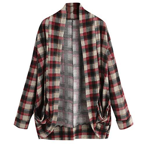 KLFGJ Ladies Blouse Long Sleeve Casual Plaid Shirts Boyfriend Button Down Blouse Leisure Hemd Women Top ()
