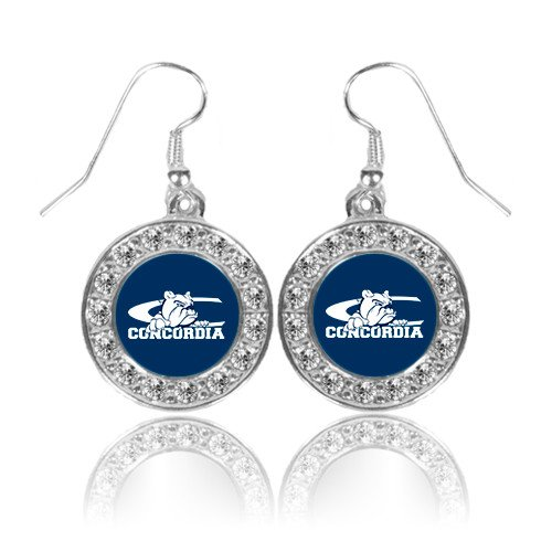 Primary Logo Earrings (CUNE Crystal Studded Round Pendant Silver Dangle Earrings 'Primary Logo')