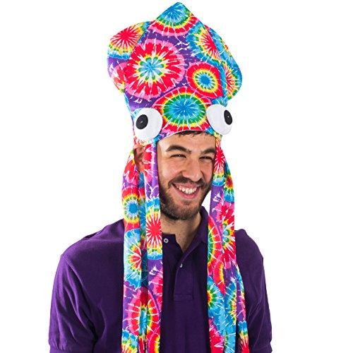Tie Dye Squid Hat - Oversize Squid Hat In Rainbow Colors