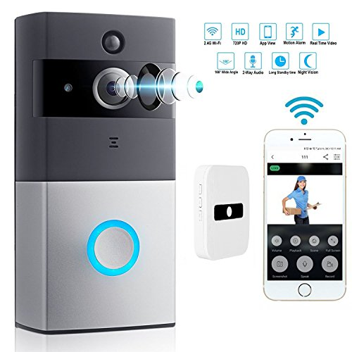 WIFI Video Doorbell , Intelligent 720P HD Wireless Alarm System Security Camera and PIR Motion Detection two-way Live Audio & Video,Night vision,music indoor chime (B/w Video Doorbell)