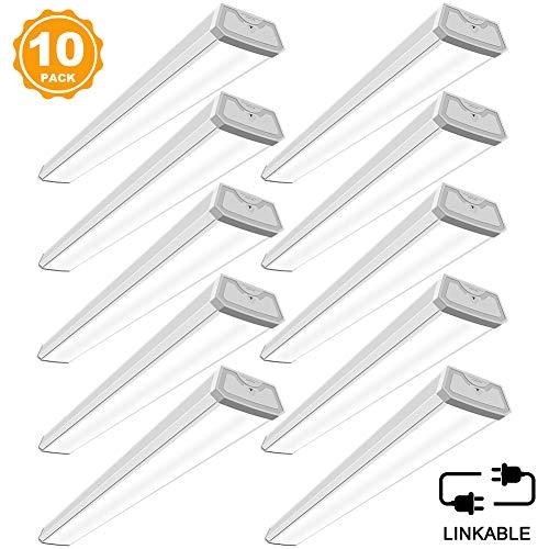 Linkable LED Shop Lights for Garage BBOUNDER 4FT 40W 4000LM 5000K Daylight Led Wraparound Garage Light (10 Pack)