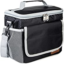 OUO Lunch Bag Insulated Lunch Box Perfect Size for Adult Men Women Thermal Lunch Tote Pail Meal Prep Handbag Lunch Organizer Holder 2 Way Zipper Closure with Adjustable Shoulder Strap Cooler Bag