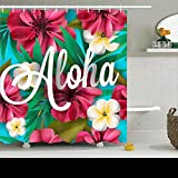 Family Decorative Shower Curtains Aloha Hawaii Hand Lettering Hibiscus Pink Hawaiian Waterproof Polyester Fabric Home Bathroom Decor Bath Curtain Size 72x72 Inches