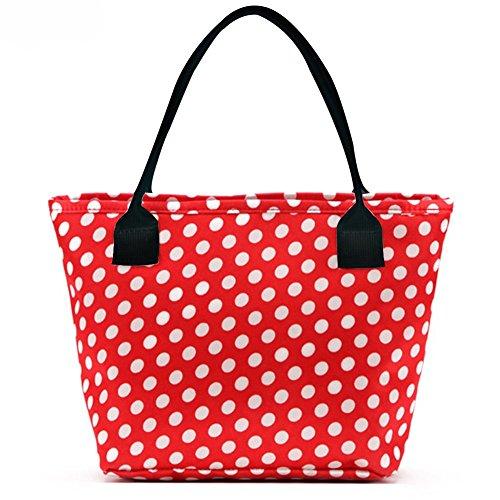 LEFV&Trade; Picnic Lunch Bag Fashion Printing Tote Handbag Travel Zipper Organizer Box Case Makeup Small Sundry Shopping Bag Red Polka Dots -