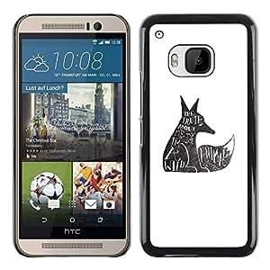 FECELL CITY // Duro Aluminio Pegatina PC Caso decorativo Funda Carcasa de Protección para HTC One M9 // Wolf Wild Animal Rights Quote Tattoo