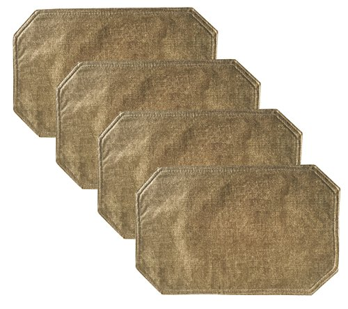 Woven Straw Textured Solid Pattern Vinyl Reversible Placemat Set- Set of 4, Natural