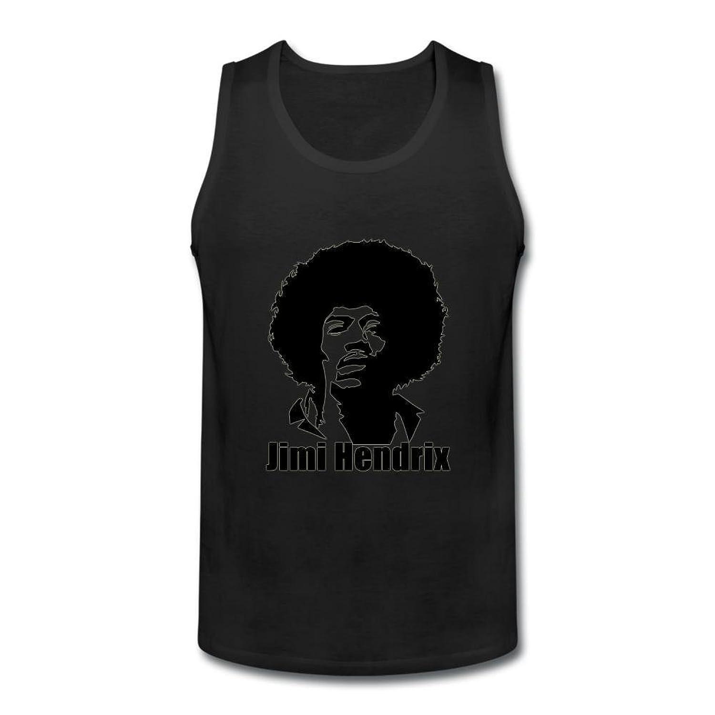 OULIN Men's Jimi Hendrix Cartoon Vest White XXXL