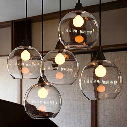 Leihongthebox loft retro village lights orbs transparent glass Pendant Ceiling Lights creative personality single head lights
