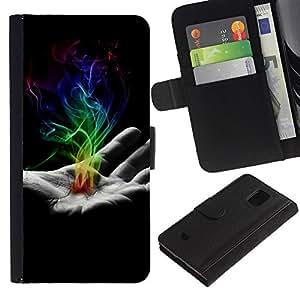 LECELL--Cuero de la tarjeta la carpeta del tirón Smartphone Slots Protección Holder For Samsung Galaxy S5 Mini, SM-G800 -- Mano de humo --