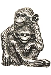 Sterling Silver Chimp with Baby Pin