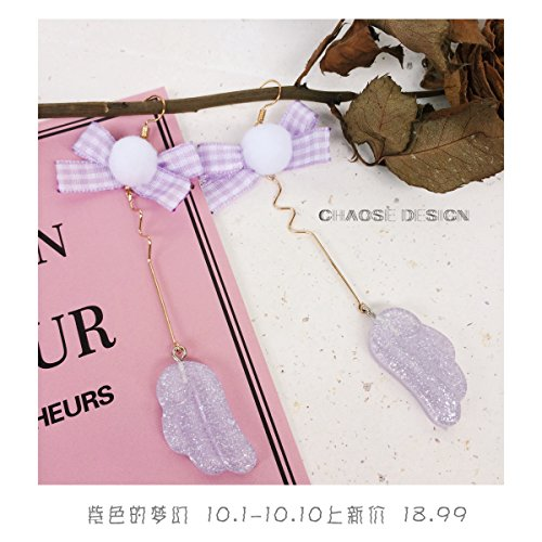 Adventure Island little wings purple hair ball grid elements ear clip earrings 925 silver earrings fun new soft sister