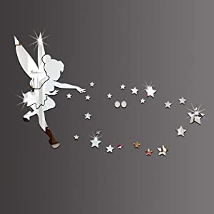 26pcs/Set Tinkerbell Fairy Wall Mirror Acrylic Mirrored Decorative Tinker Bell Wall Stickers Home Decoration (Silver)