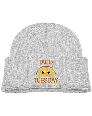 Kids Knitted Beanies Hat Taco Tuesday Winter Hat Knitted Skull Cap for Boys Girls Black