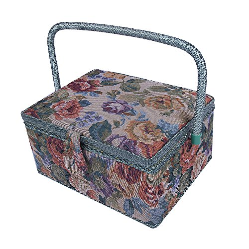"Vintage Floral Print Fabric Large Sewing Tool Box Basket Jewelry Organizer,120 Pcs professional sewing kit Accessories Mother's Day Gift,12""x 9""x 6.5"" (Brown) (Sewing Box With Accessories)"