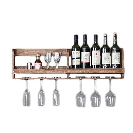 Estante para Vino Estante para Vino Rojo colgado en una Pared de Madera Maciza Estante de