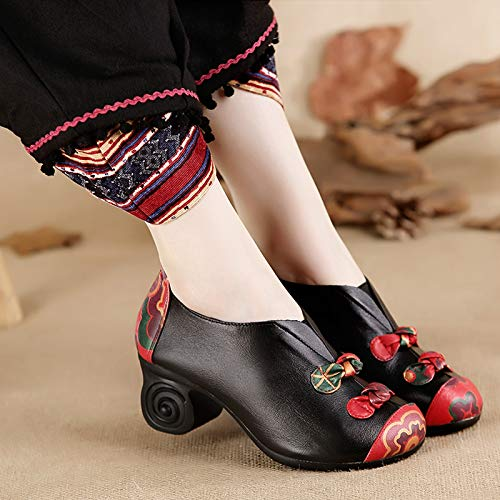 Heeled Heeled And Heeled Shoes Shoes Spring Autumn Shoes Hundred Medium Leather Soft KPHY Women'S Forty Autumn Autumn Black Coarse Shoes Soled And Spring Mother'S Comfortable RXq5zwnn