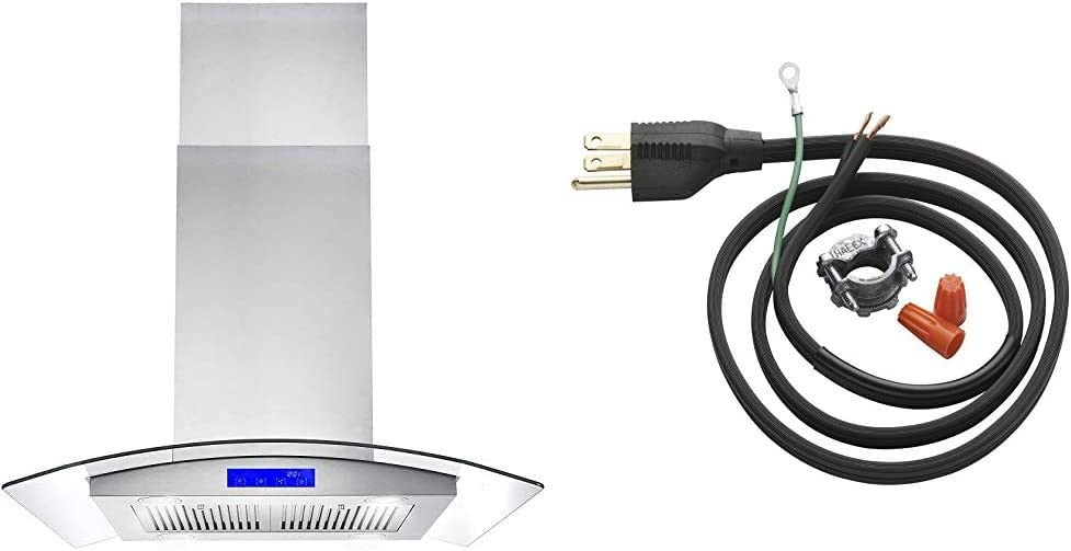 Cosmo 668ICS750 30 in. Island Mount Range Hood with 380 CFM, Soft Touch Controls, Tempered Glass Visor in Stainless Steel & InSinkErator Garbage Disposal Power Cord Kit, CRD-00